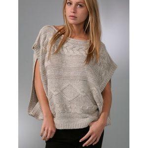 LaROK Luxe Metallic Cable Poncho Sweater Top